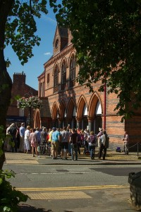 Crowds outside the Old Town Hall during the promenade