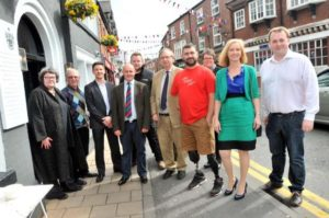 From left to right, Julie Tempest, Robert Meadows, of Knutsford Promenades, Lee Christian of McLaren Manchester, Jim Duffy of ABF The Soldiers Charity, Rupert Wakefield of Event Buddha, Peter Ashburner of Wright Marshall, Andy Reid of ABF The Soldiers Charity, Erica Goggins. Knutsford Directory, Sarah Flannery, and Dave Bradburn, Opus Creative.