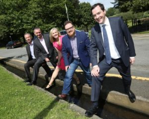 George Osborne MP with, from left, Brendan Flanagan & Richard Milkins of Cheshire East, Sarah Flannery and Richard Clare of Clare & Illingworth