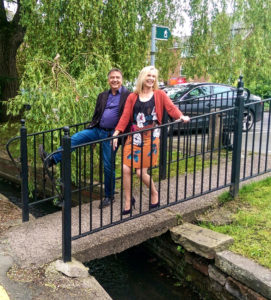 Chef Raymond Blanc crosses the River Lily with Knutsford Heritage Open Days organiser Sarah Flannery