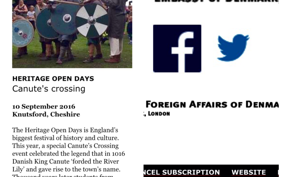 Canute's Crossing features in Danish Embassy newsletter